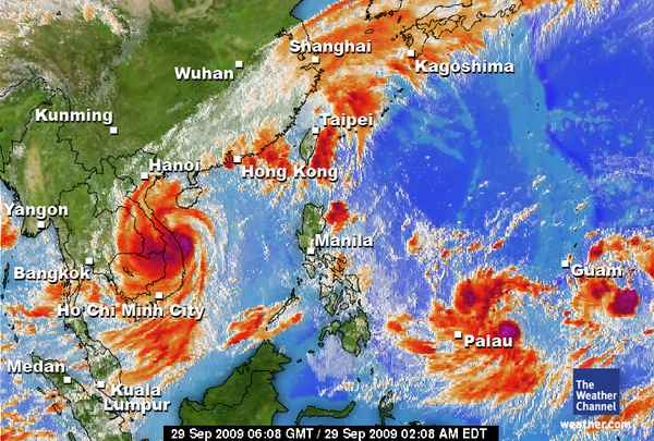 The two red circles over Palau and Guam are the 2 typhoons coming