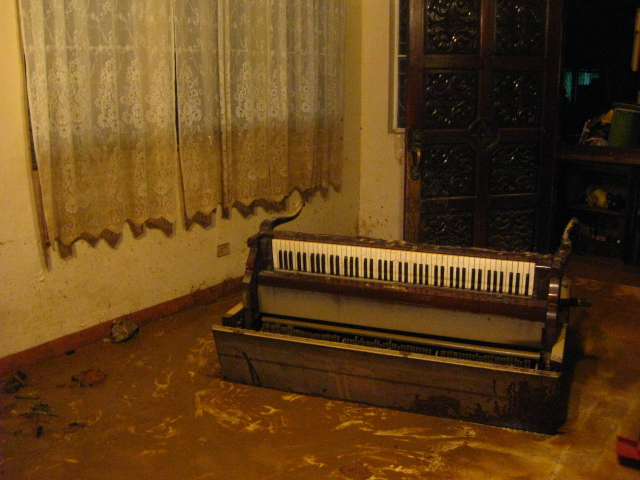 their piano was floating around..